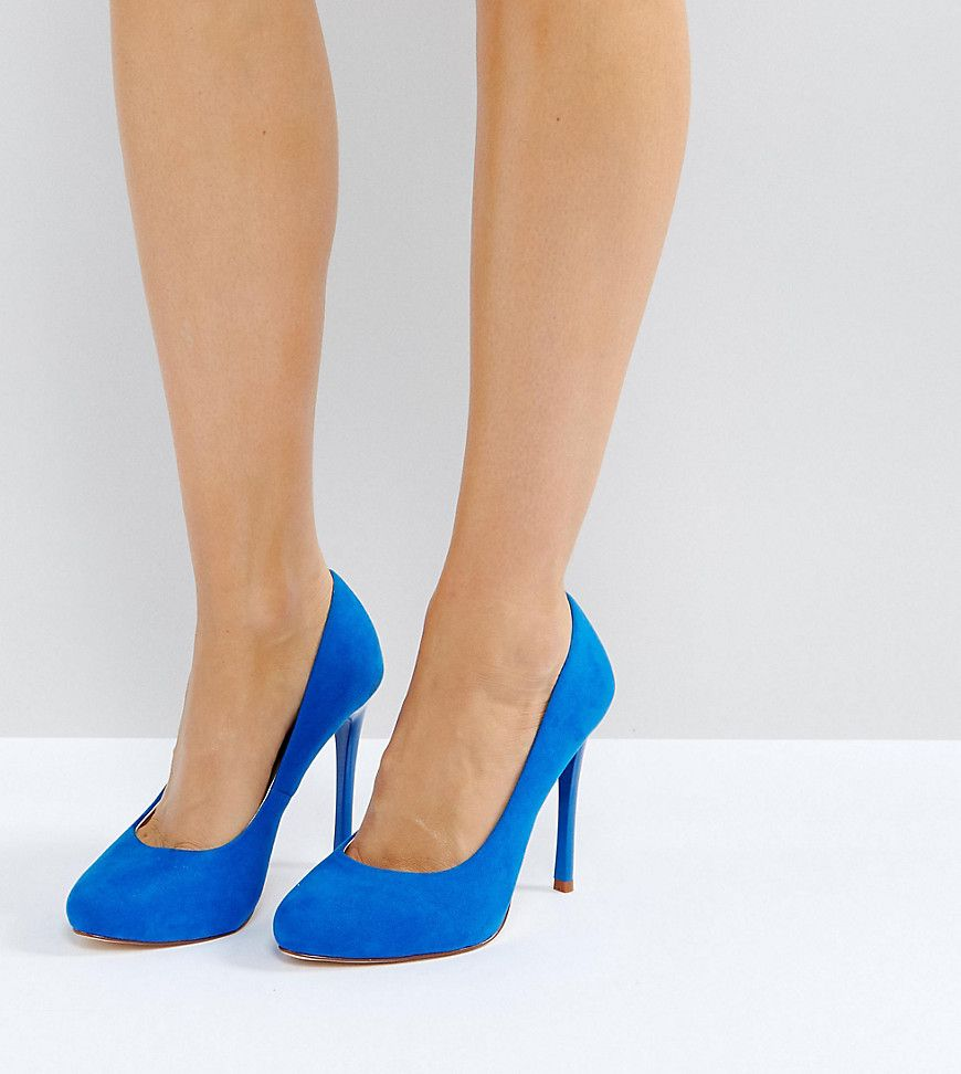 Faith Wide Fit Candy Blue Heeled Shoes