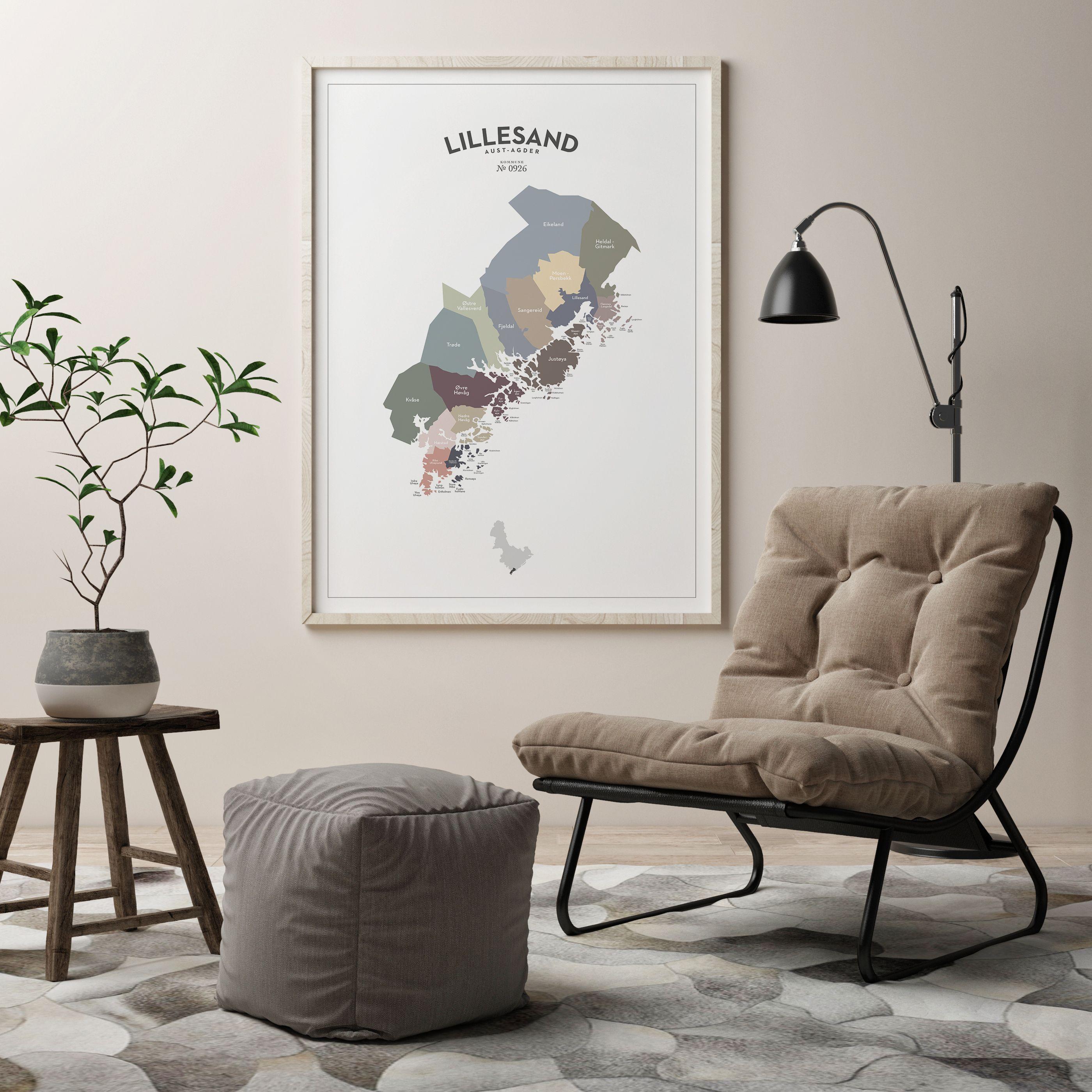 kart høvåg LILLESAND • #Lillesand #poster #plakat #veggpynt #minimalistisk  kart høvåg