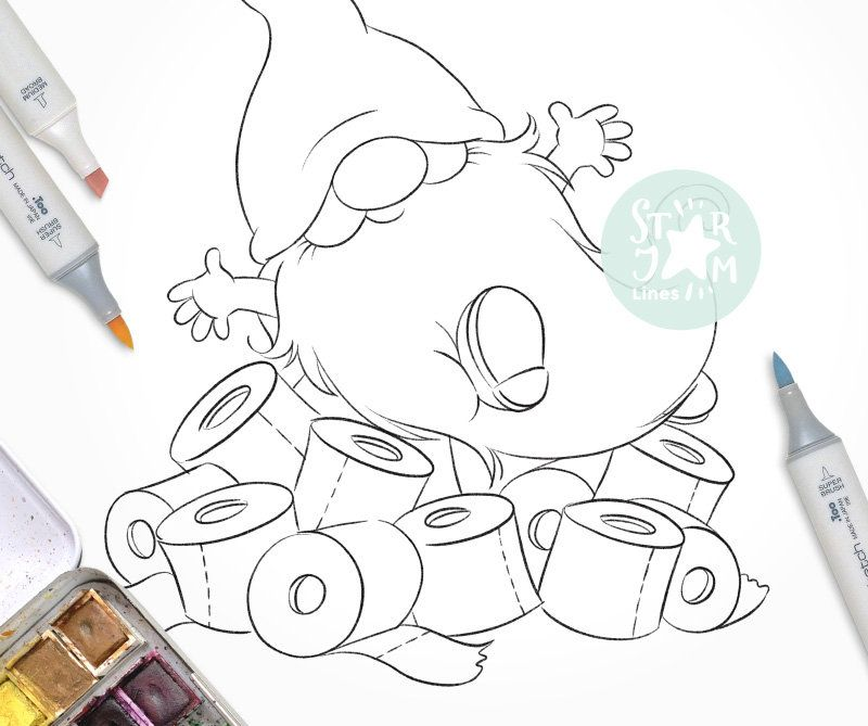 Gnome With A Toilet Paper Digi Stamp Paper Rolls Fun Etsy Digi Stamp Cool Coloring Pages Free Christmas Coloring Pages