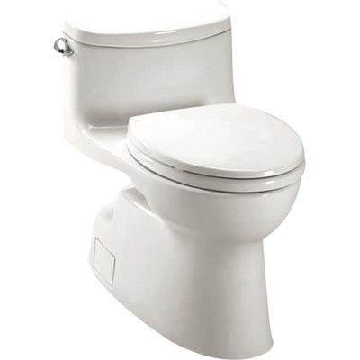 Carolina High Efficiency 1 28 Gpf Elongated One Piece Toilet Seat Included One Piece Toilets Toilet Cleaning Toilet
