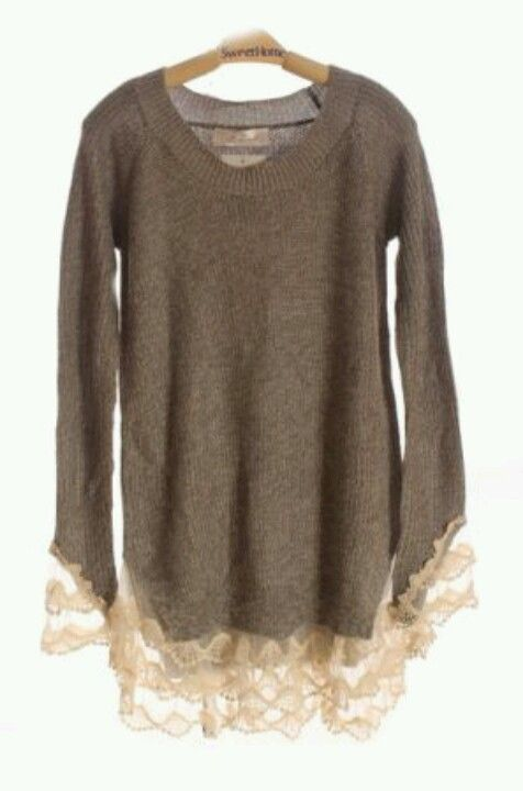 Brown lace sweater