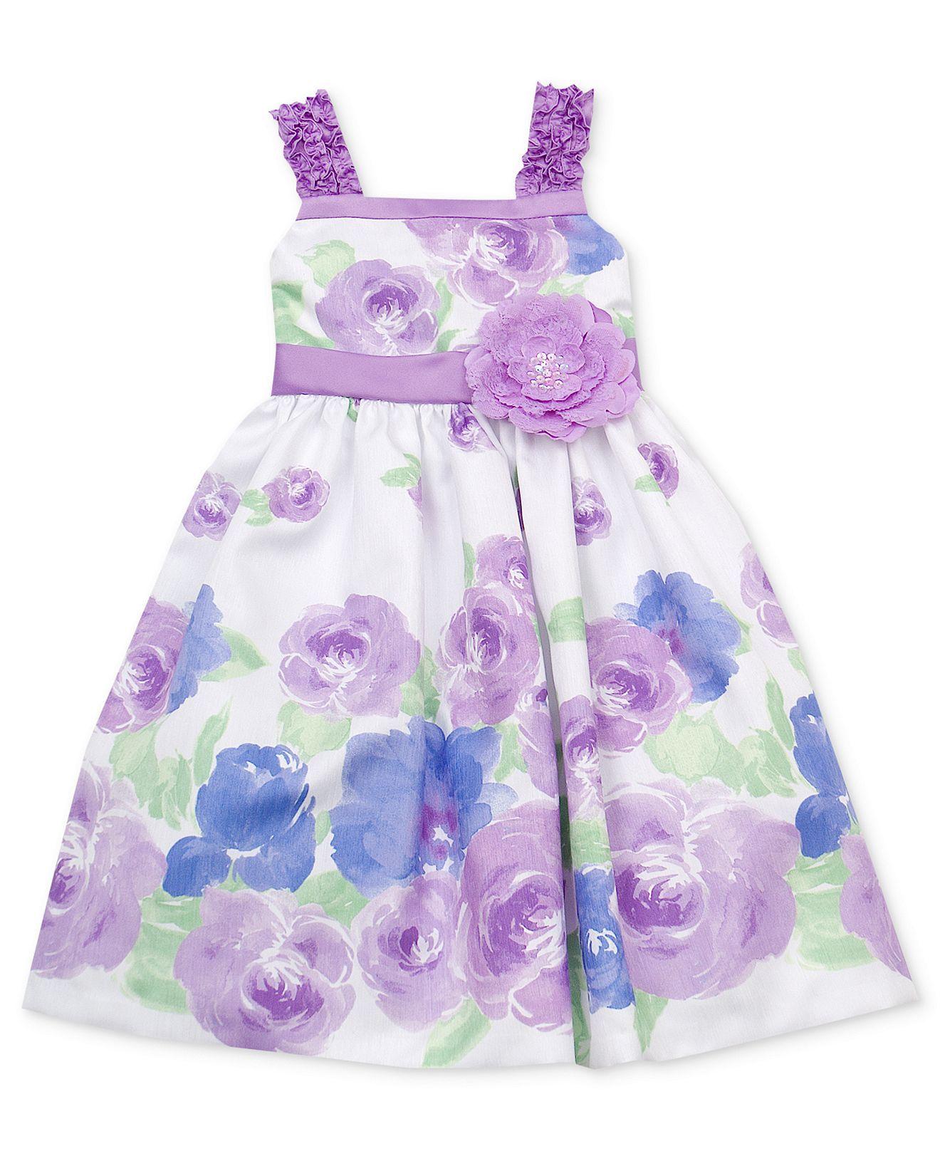 Rare Editions Girls Dress, Little Girls Floral-Print Dress - Kids ...