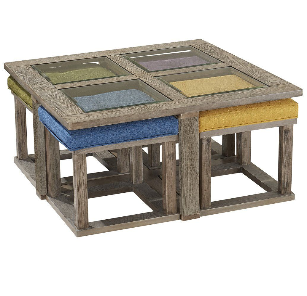 Square Coffee Table With 4 Nesting Stools Coffee Table Decor Living Room Coffee Table Square Coffee Table Coffee table with nesting stools