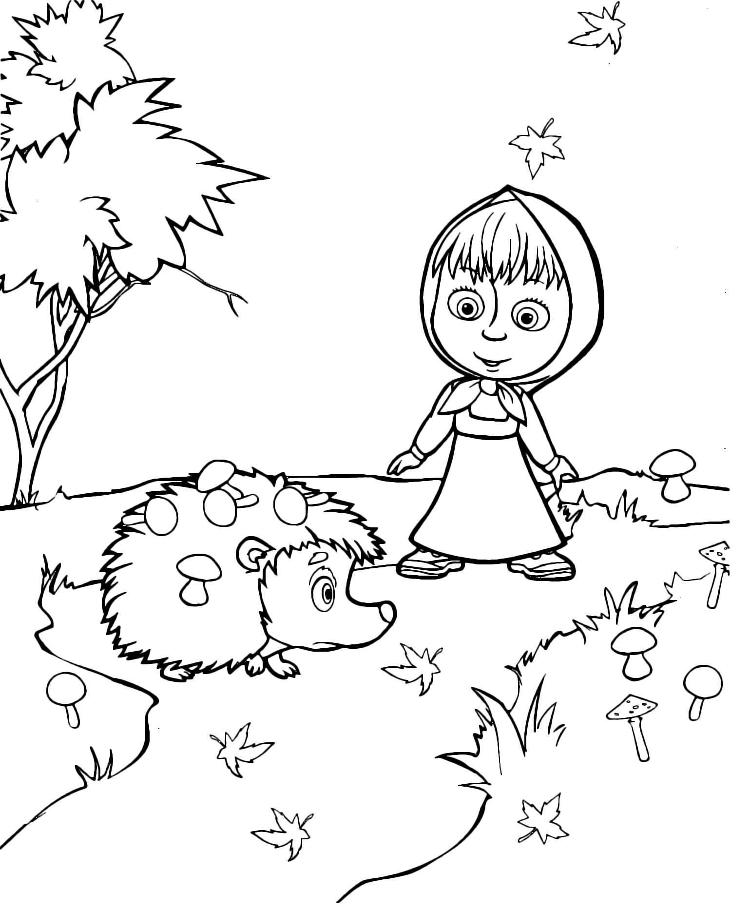 Раскраски «Маша и Медведь» - «Маша с ежиком» | Рисунки для ...