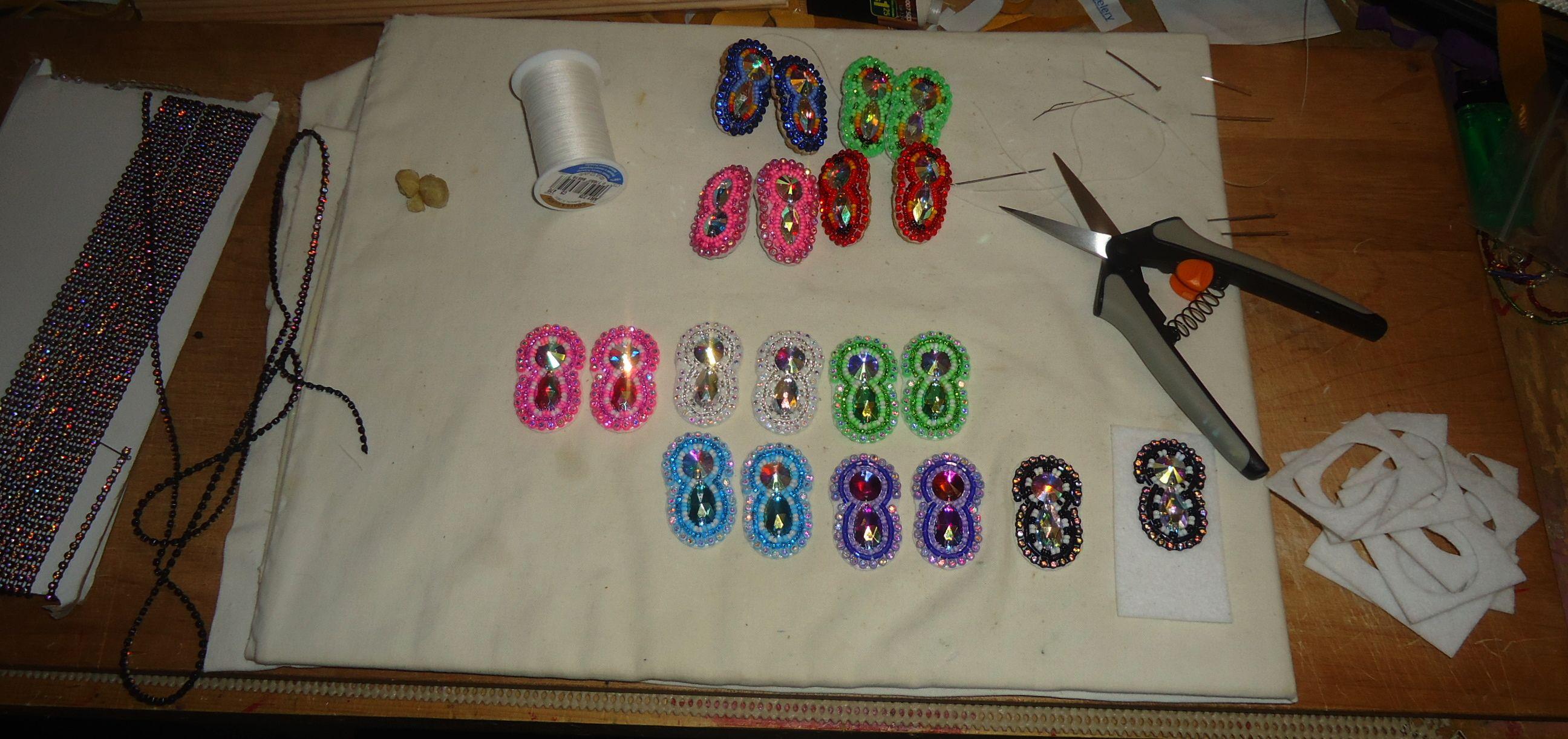 beaded earrings in the works.