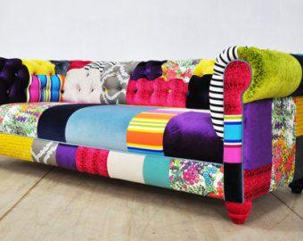 Divano Patchwork ~ Jean patch denim chesterfield patchwork sofa chesterfield