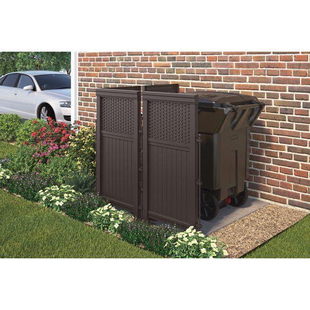 Suncast 4 Panel Outdoor Steel Resin Freestanding Screen Enclosure Brown Walmart Com In 2020 Privacy Screen Outdoor Outdoor Trash Cans Outdoor Privacy