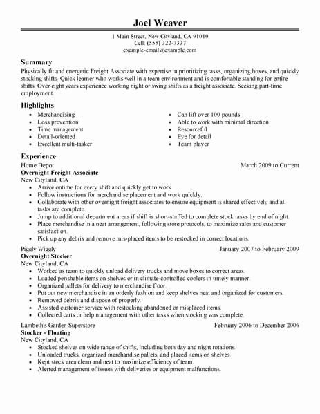Part Time Job Resume Best Of Best Part Time Overnight ...