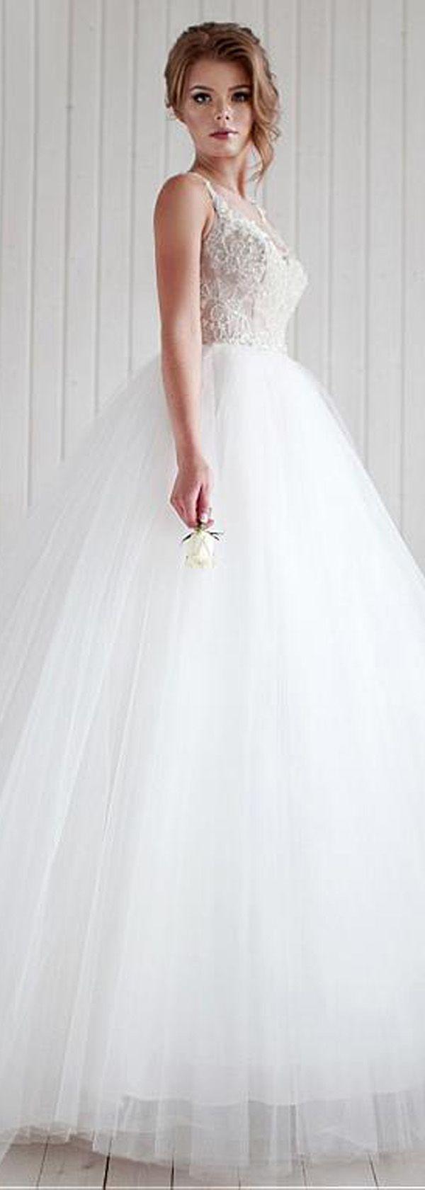 Beaded spaghetti strap wedding dresses  Elegant Tulle Spaghetti Straps Neckline Ball Gown Wedding Dress With