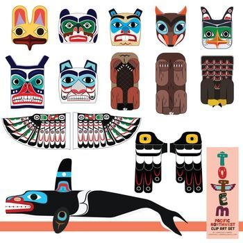 Totem Pole Clip Art Set Of The Pacific Northwest Native American Art Projects Native American Totem Haida Art