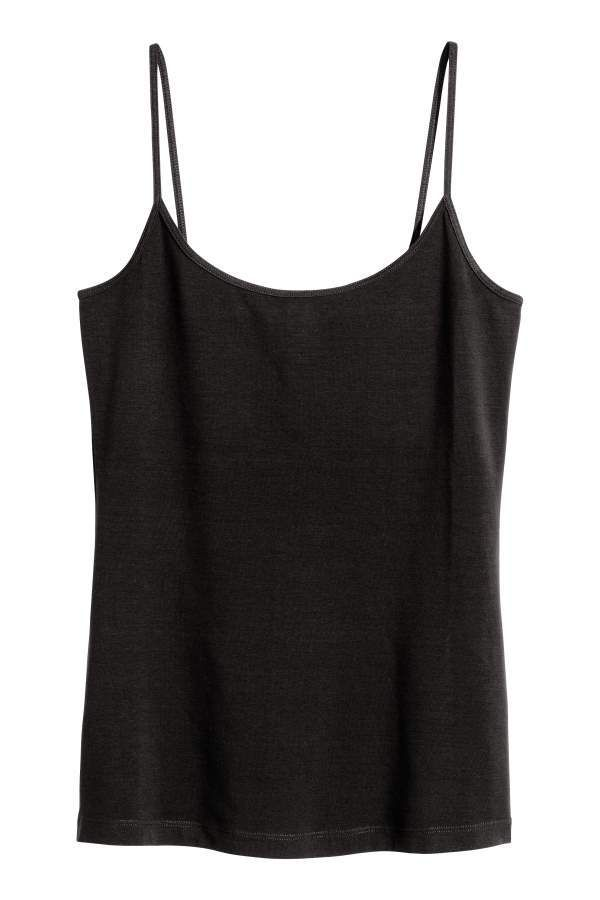 822714f47ffd3 H&M Basic Tank Top | Products | Tops, Basic tops, Black tops