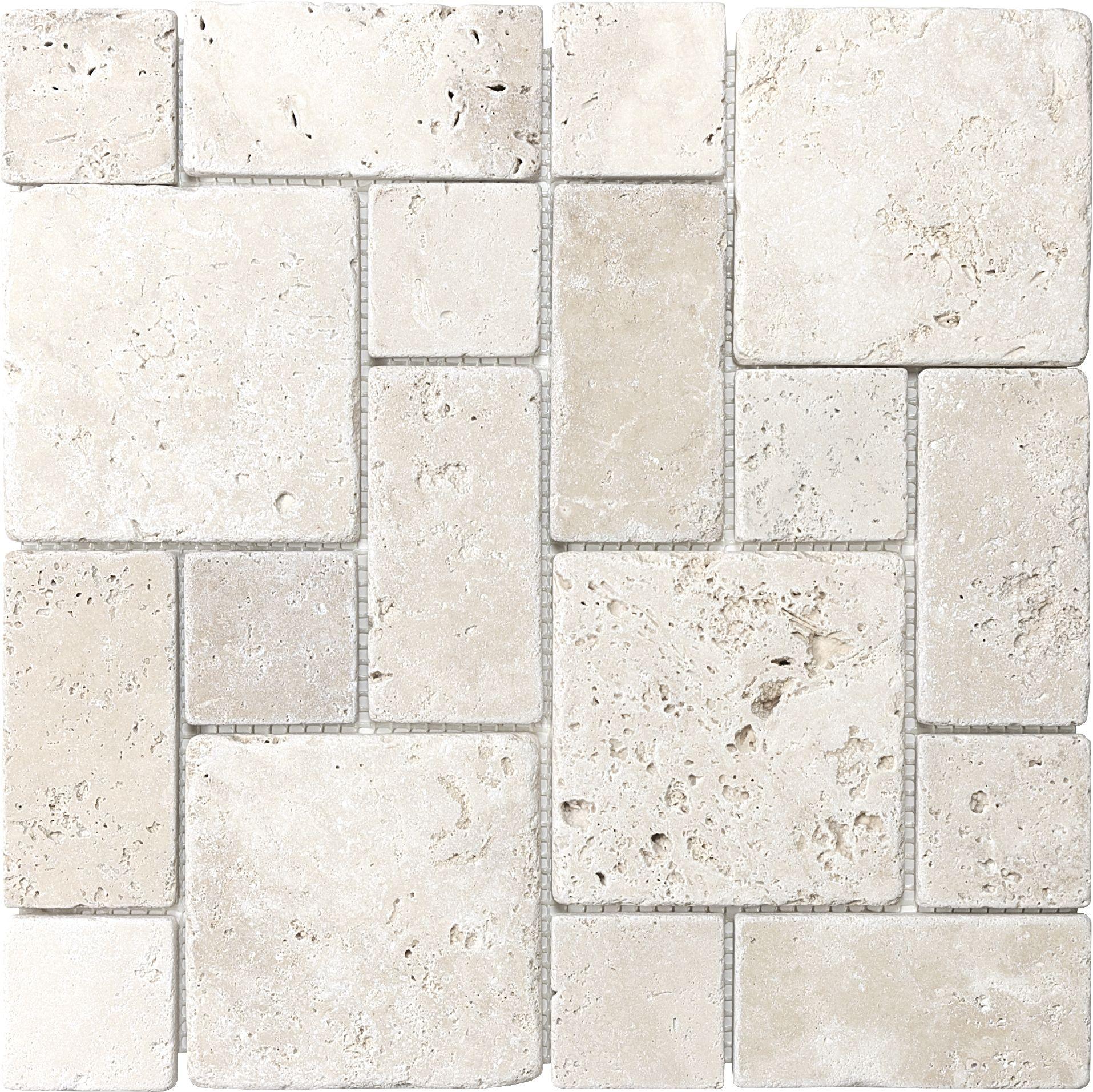 Chiaro Tile Backsplash: Anatolia Tile Chiaro Mixed Pattern Mosaic Travertine Wall