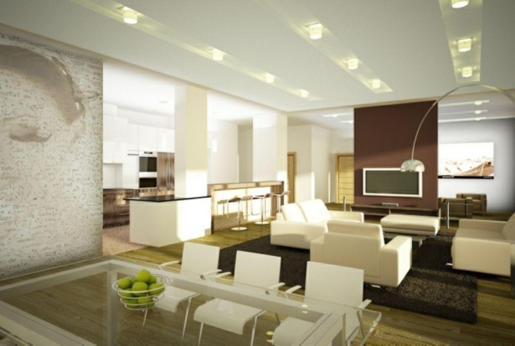 Moderne Wohnzimmerwand ~ Moderne wohnzimmer beispiel moderne deckenbeleuchtung wohnzimmer