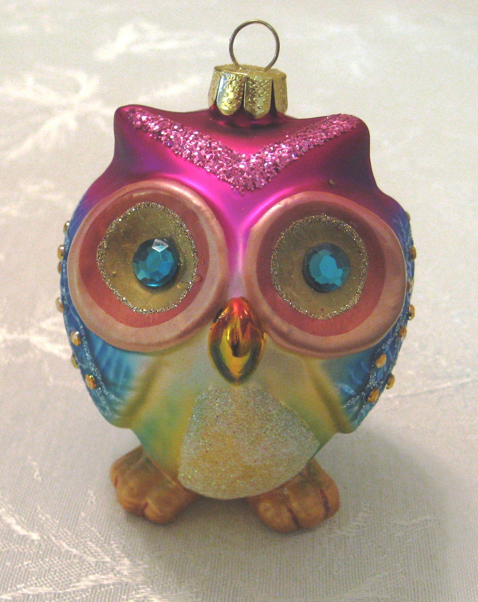 Vintage Christmas Ornament ~ Colorful Glass Owl Ornament