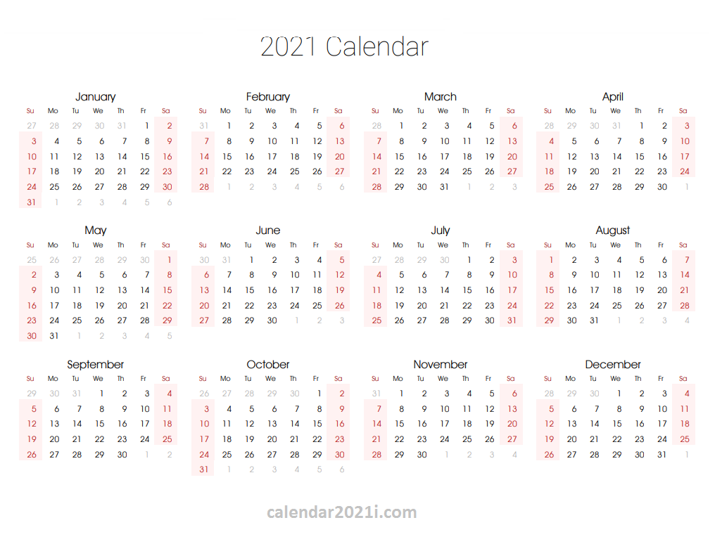 2021 Yearly Calendar Template In 2020 Yearly Calendar Template Monthly Calendar Template Calendar Template