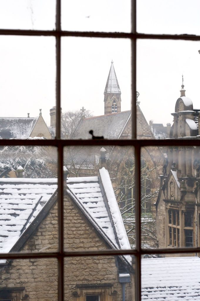 Robertmealing From The Window Of Blackwell Books Looking Out Over Oxford After It Had Snowed