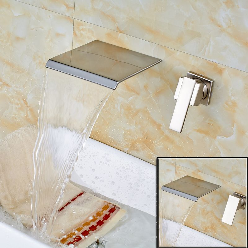 Wall Mounted Waterfall Spout Basin Vessel Sink Faucet Single Handle ...