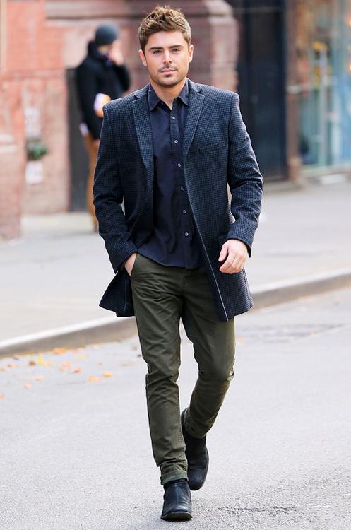 Zac Efron, I like your style...   Hubba Hubba ~ It's Raining Men!!    Pinterest   Zac efron, Fashion and Rugged fashion