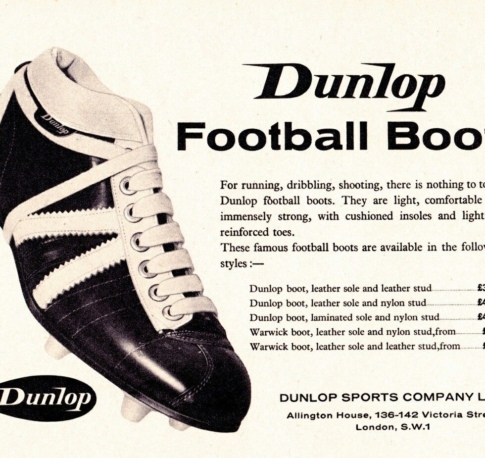 06631f7a8ef5 Dunlop advertising football boots in the early 1960s.   1960s ...