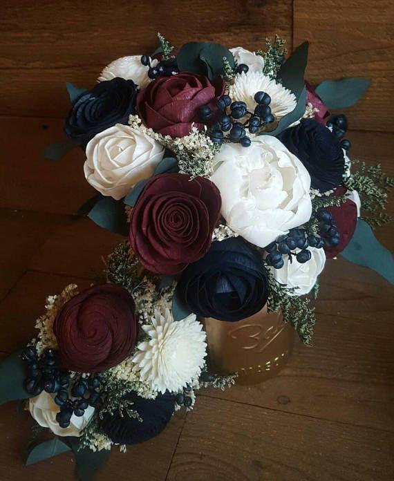 Custom Navy Burgundy Wedding Bouquet Sola Wood Flowers and dried Flowers Navy Berries and Seeded Eucalyptus Bridal Bridesmaids Style  is part of Burgundy wedding - StellaDesignsShop ref sellerplatformmcnav&section id 23030980