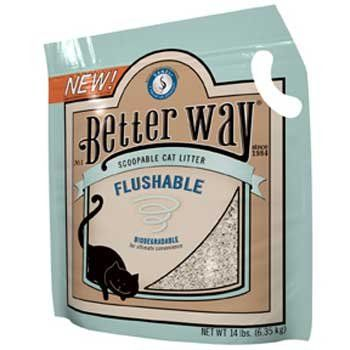 $12.99-$19.26 Better Way Flushable Cat Litter - 12 lb - Better Way Flushable Cat LitterYou will love Better Way Cat Litter, because it quickly eliminates odors and forms easy-to-remove clumps, leaving the remaining litter clean and fresh. Your cat will love it too, because it's soft on paws. 12 lbs. http://www.amazon.com/dp/B000YIWTLQ/?tag=pin2pet-20