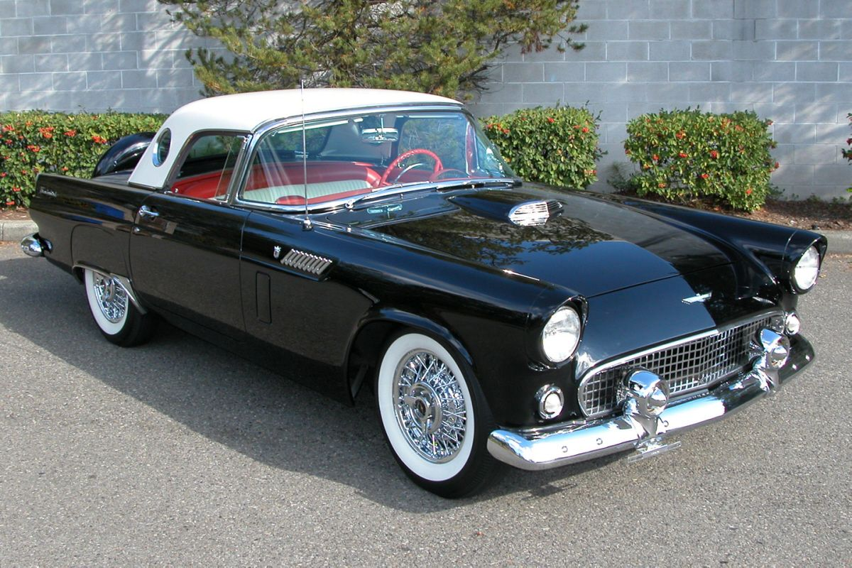 1956 ford t bird what a beautiful old car i love the black with white hard top and red and white interior