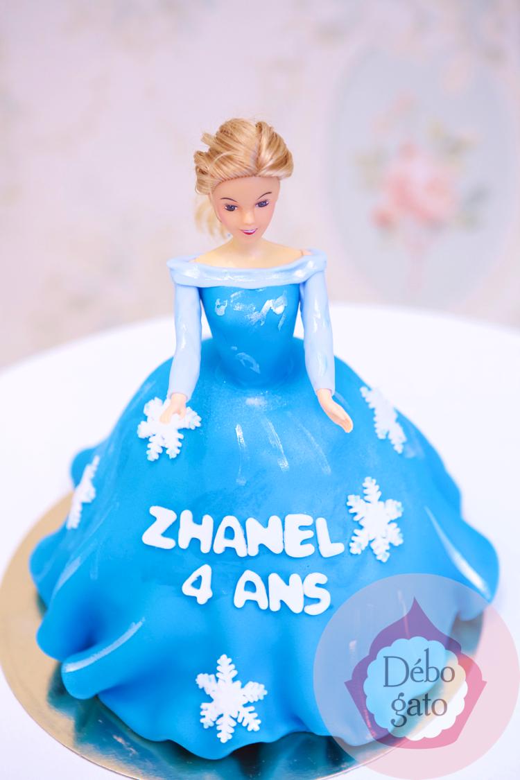 G teau princesse reine des neiges elsa poup e robe - Princesse des neiges ...