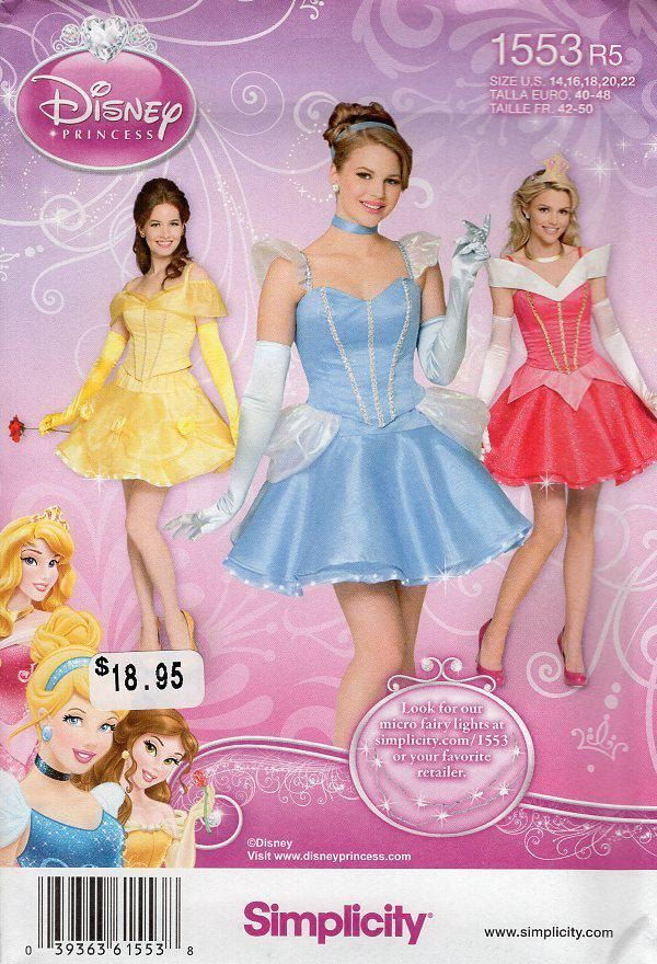 Free Us Ship Sewing Pattern Simplicity 1553 Misses Adult Disney ...