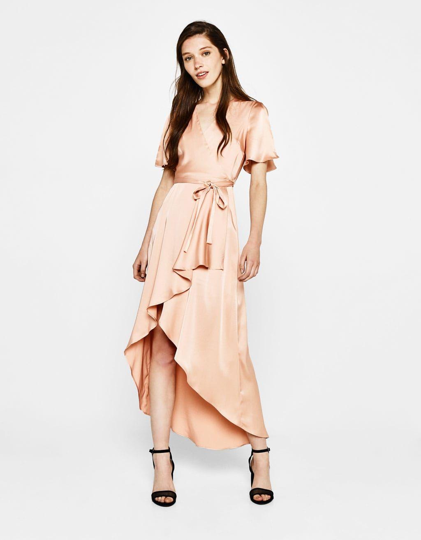 Bershka Saten Capraz Elbise Wrap Elbise Elbise Elbise Modelleri