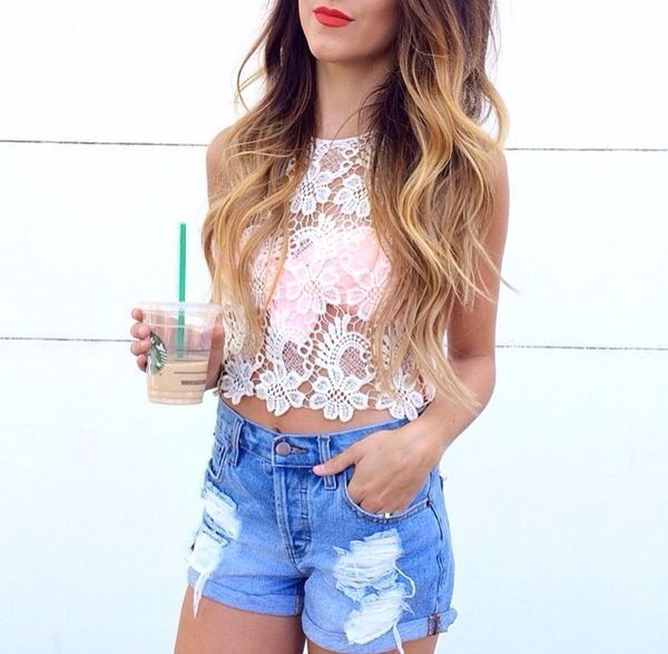 white lace crop top & high-waisted denim shorts