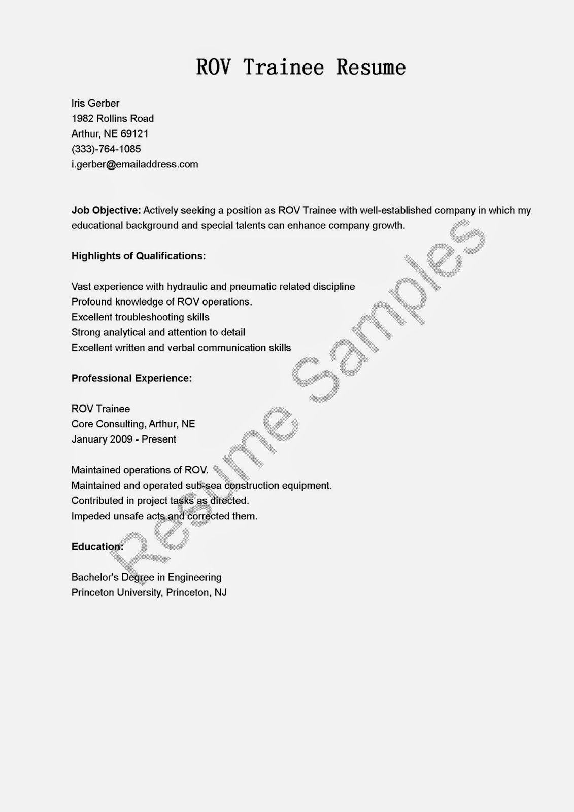 ROV Trainee Resume Sample |Resume Samples | resame | Pinterest ...