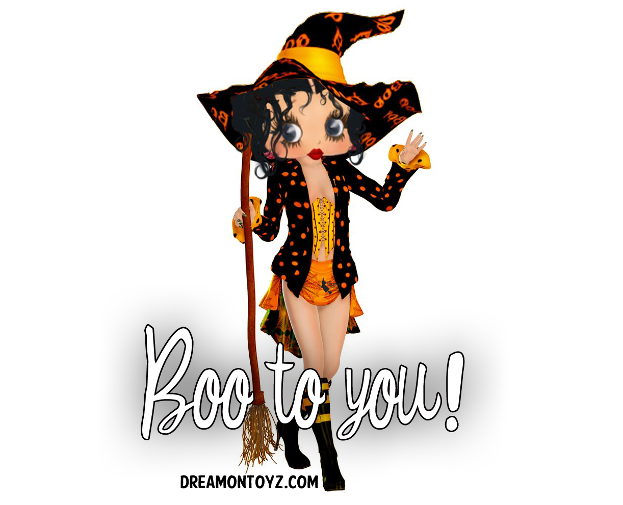 Boo to you! ~ More Betty Boop Halloween Graphics & Greetings ★ http://bettybooppicturesarchive.blogspot.com/search/label/Halloween AND ON FACEBOOK https://www.facebook.com/media/set/?set=a.710293905651126.1073741836.157123250968197&type=3 - Sexy Betty boop witch created by Hilda