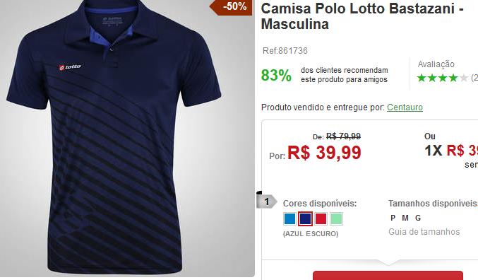 4c2e9019ef Camisa Polo Lotto Bastazani - 4 Cores Disponíveis    R  3999 ...