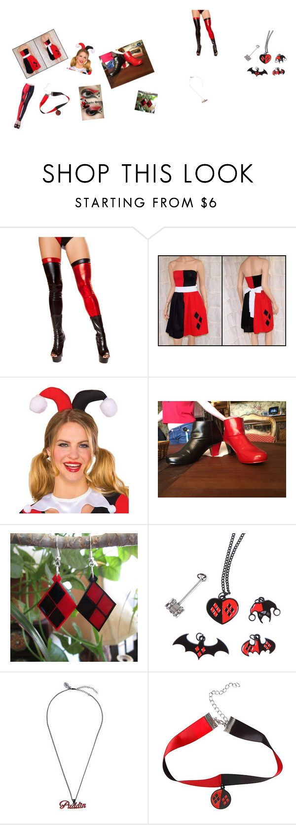 """""""Harley Quinn full dress / costume set"""" by fluffypups on Polyvore featuring beauty and Rubie's Costume Co."""