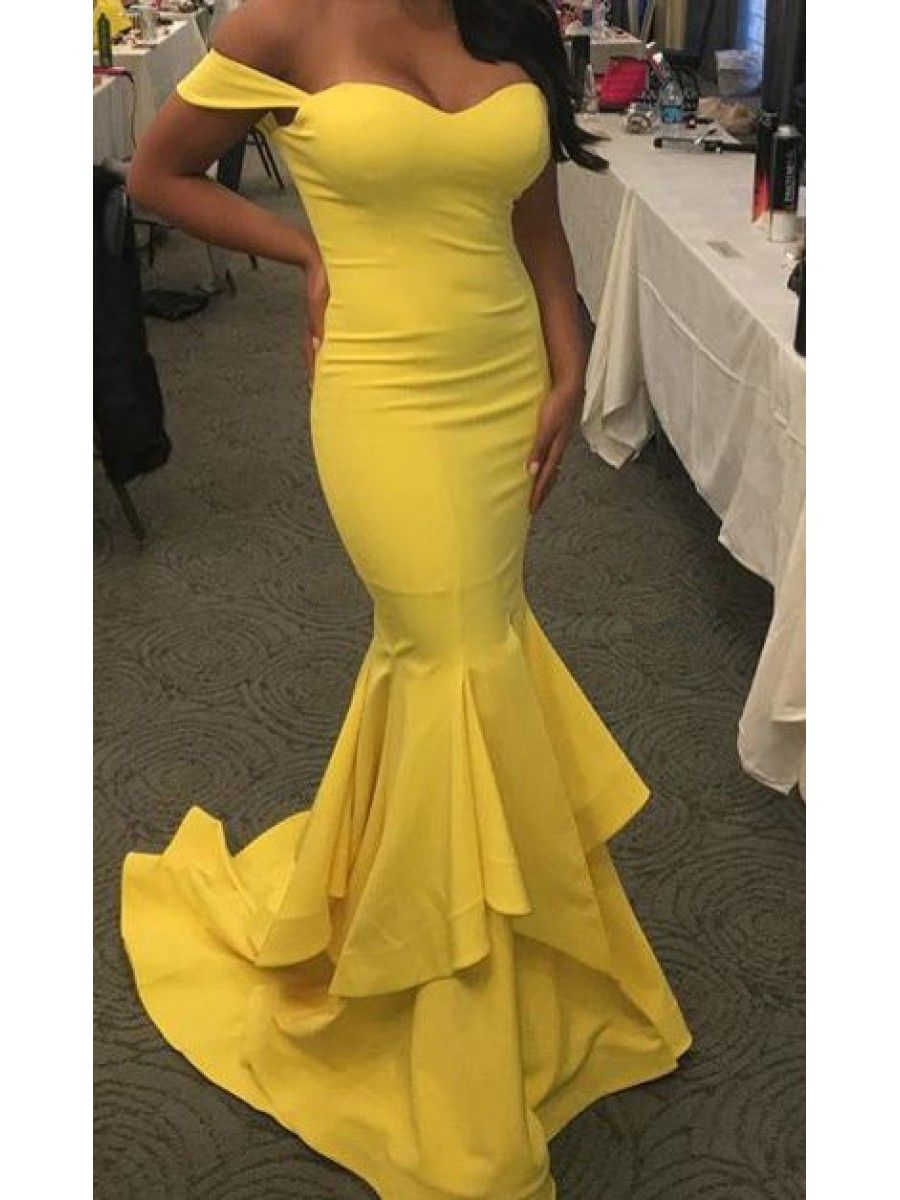 Mermaid long yellow offtheshoulder prom dresses party evening