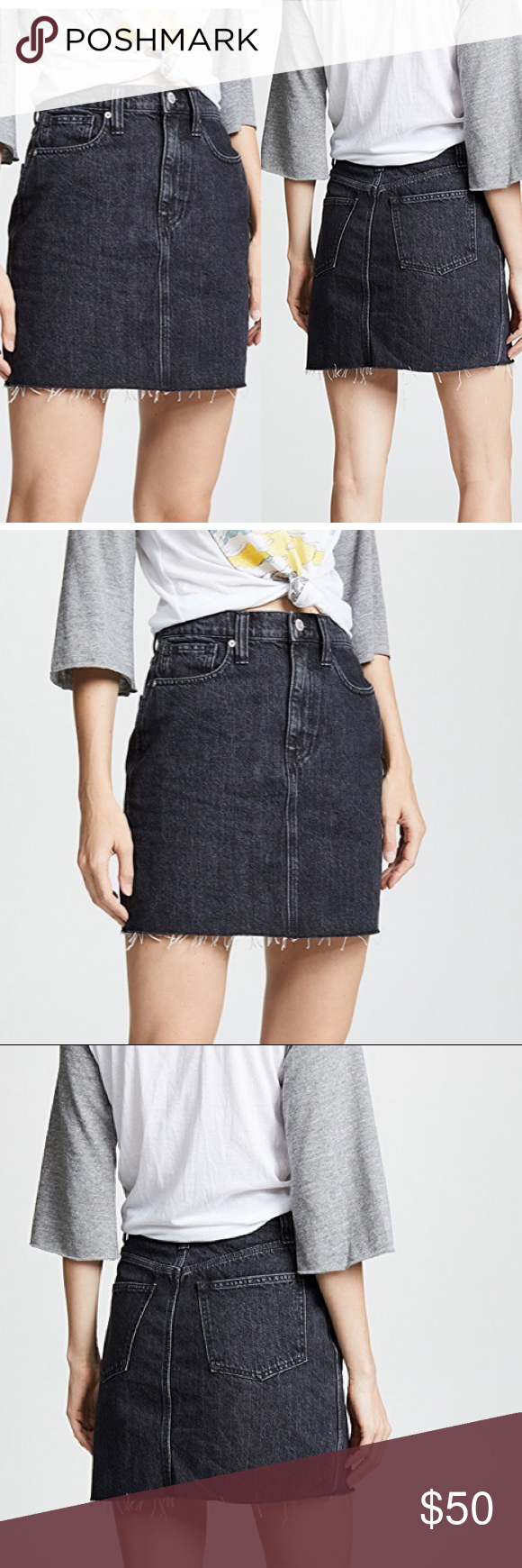 5a1f024df Madewell Vintage Black Denim Skirt *Fading *Raw, Frayed Hem *Hidden Zip at  Fly *Button at Waist *Slant Hip Pockets *Patch Back Pockets *Fabric: Denim,  ...