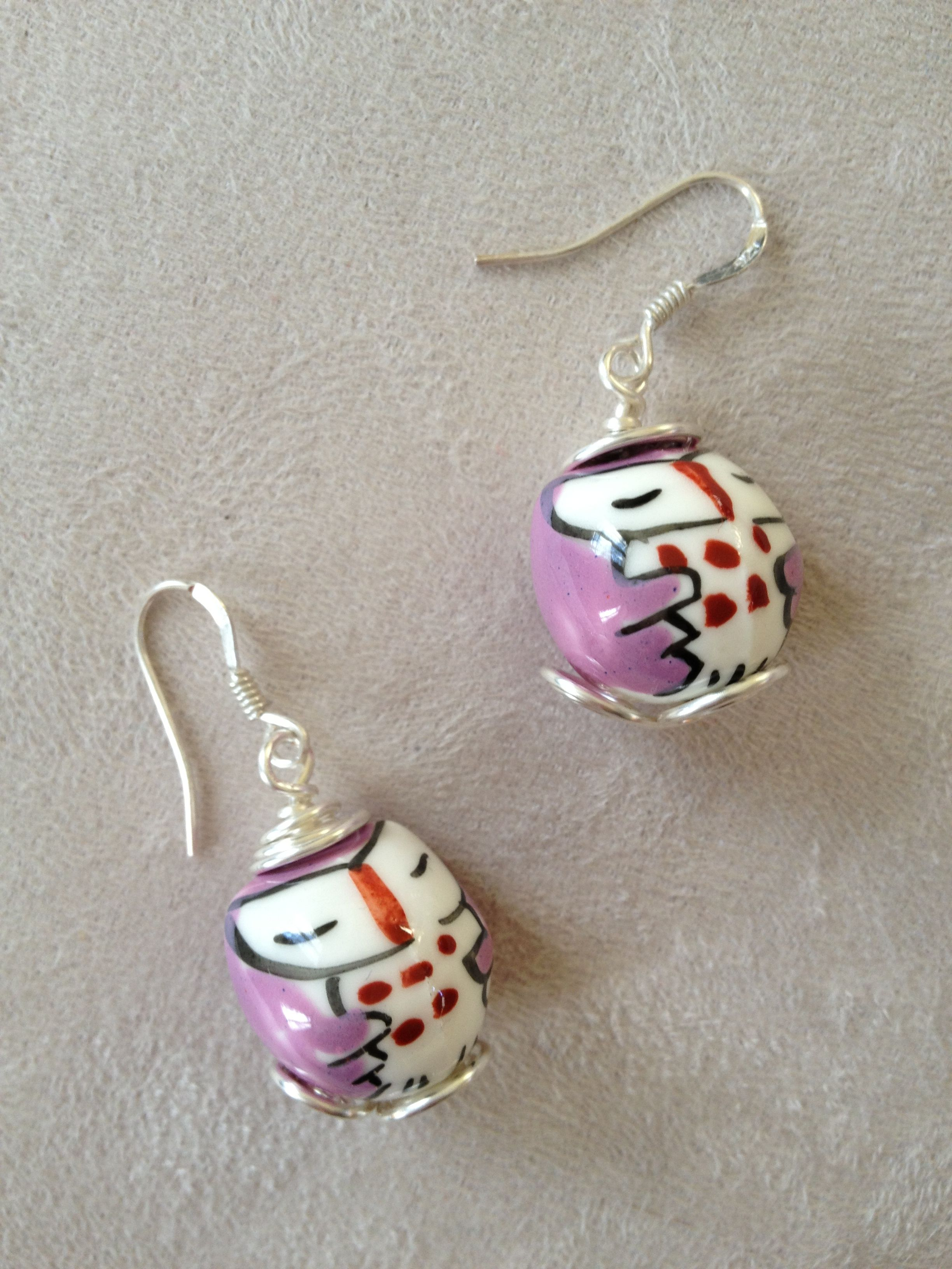 Boucles chouettes roses! Wire wrapping