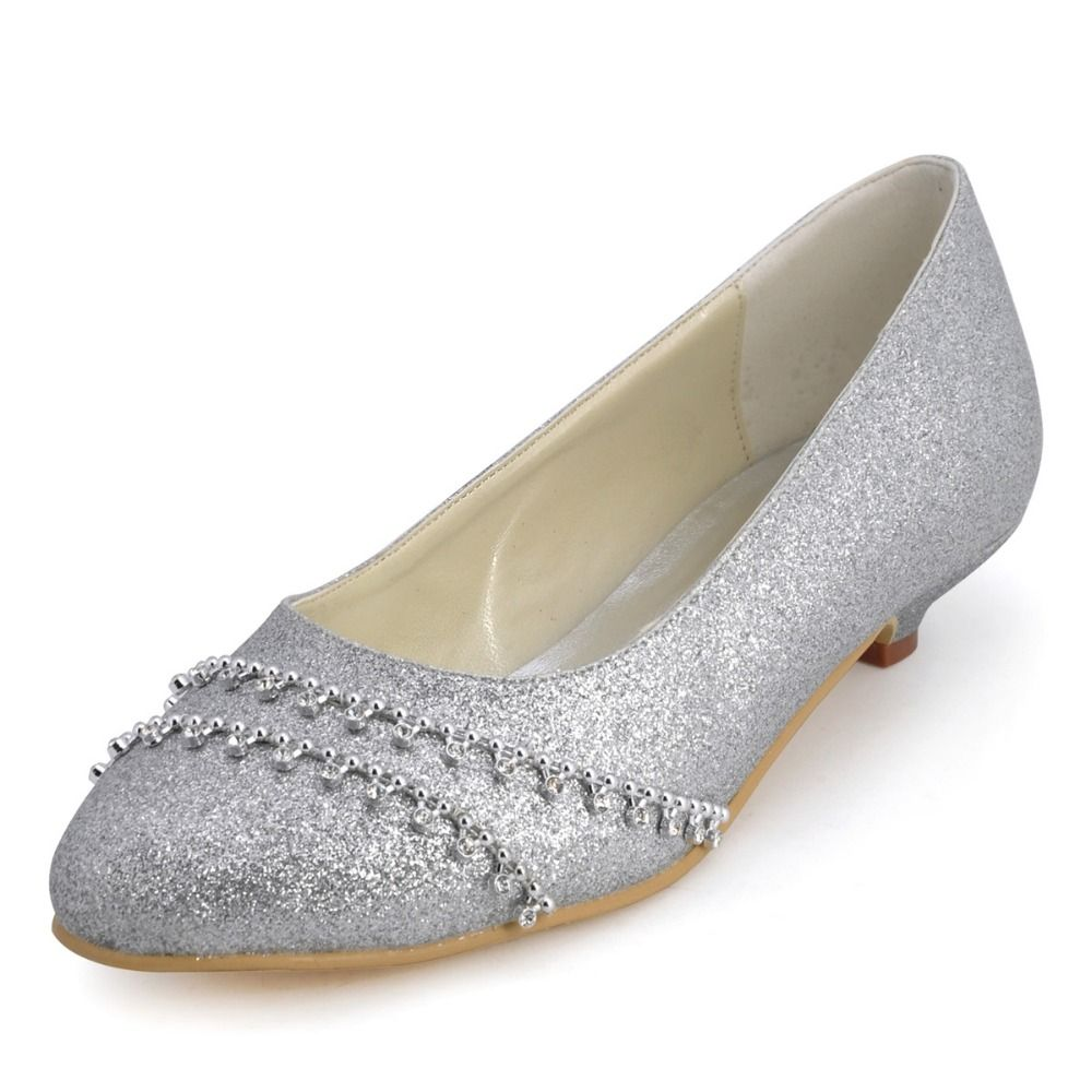 Free Shipping Buy Best B129B Women Evening Party Silver Round PartyWedding PumpsLow HeelsParty