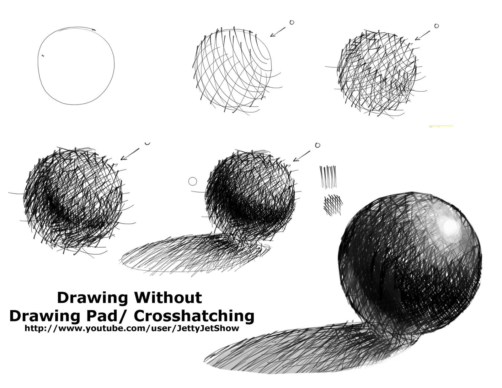 Chiaroscuro Shading On A Sphere In Cross Hatch Technique