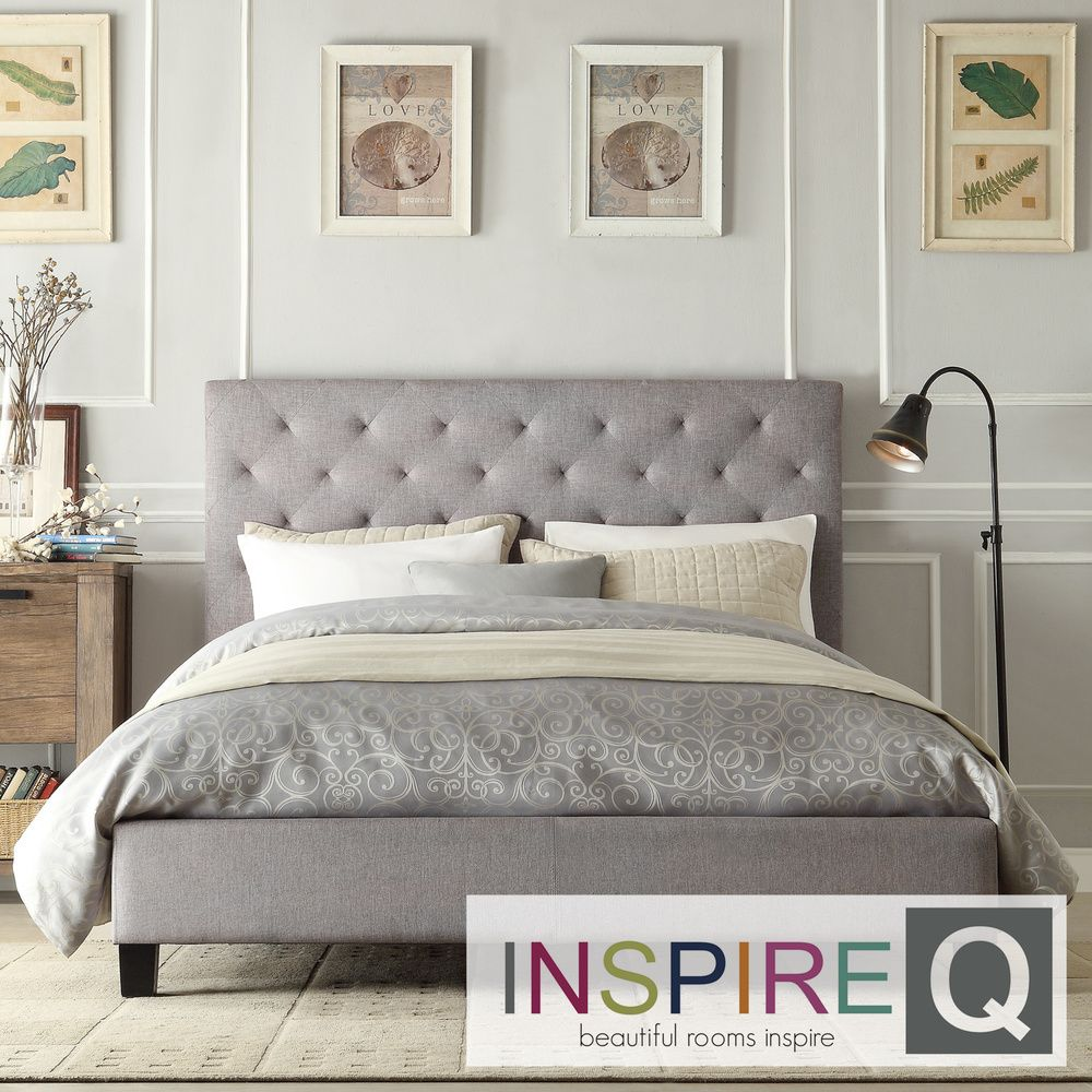 INSPIRE Q Kingsbury Grey Linen Tufted King-sized Upholstered Platform Bed  by INSPIRE Q