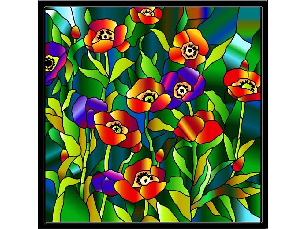 Витраж-раскраска «Маки в стиле Тиффани»   Раскраски, Маки ...