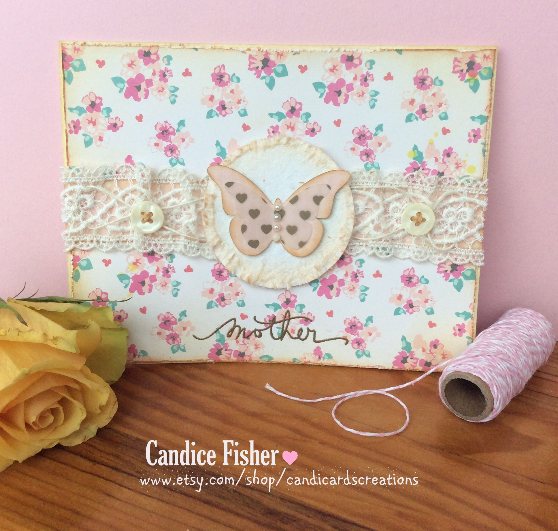 a very delicate mother's day card with beautiful lace and