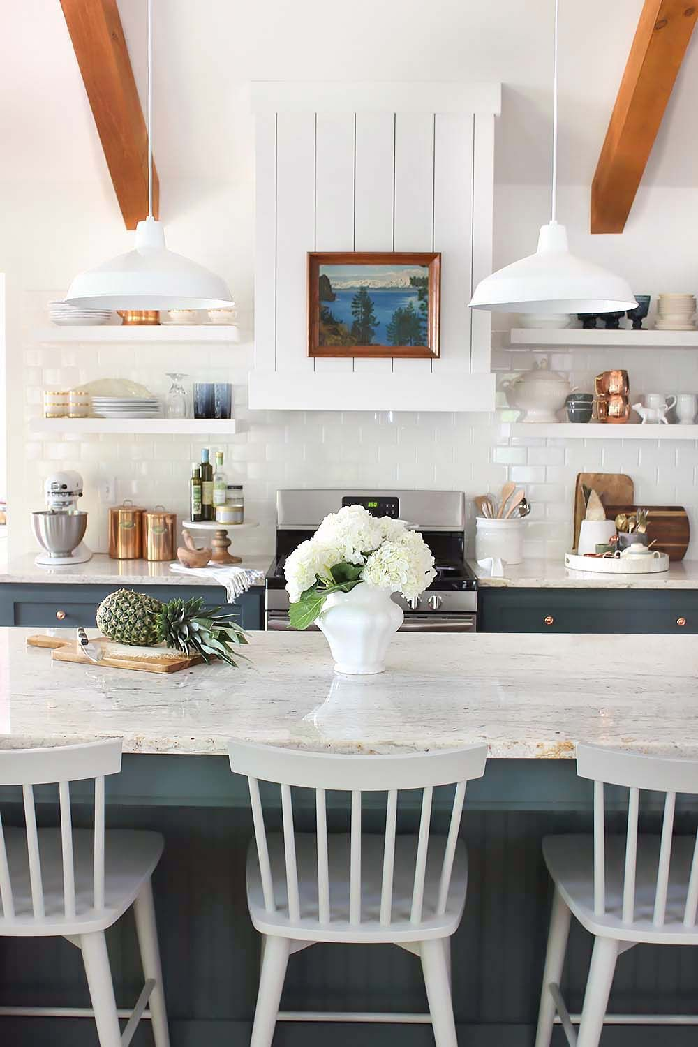 Rustic Kitchen Hingham Menu Finallyour Finished Kitchen Open Shelving Bar Chairs And