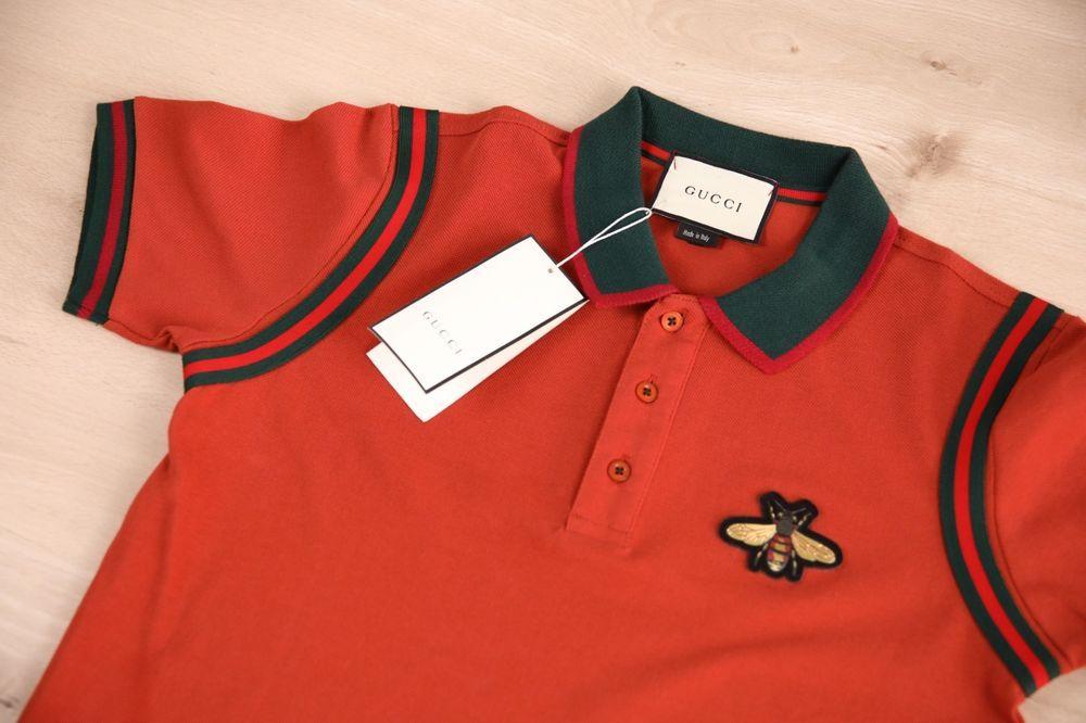 96dbc9c7f9e Gucci T Shirt Polo Mens Red Brick Color Bee Logo Size XL New Mens  fashion