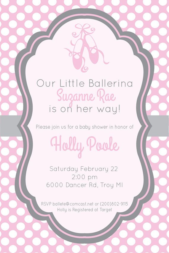 c3d4ab34dc170 Gray and Pink Ballerina Baby shower Invitation by PerfectHostess Baby  Showers Niño