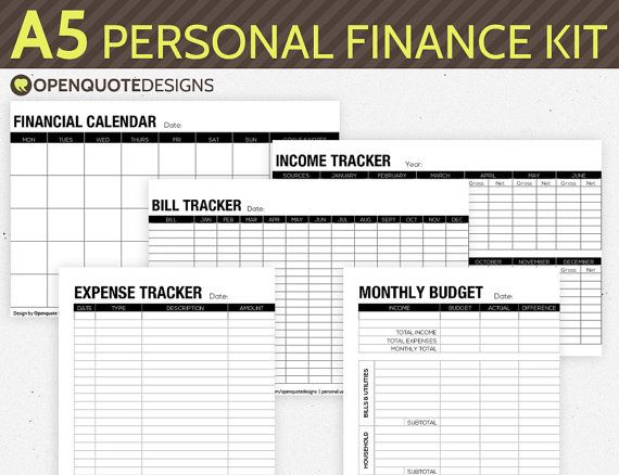 A5 Filofax Finance Printable, Personal Finance Kit, Monthly Budget - perpetual calendar template