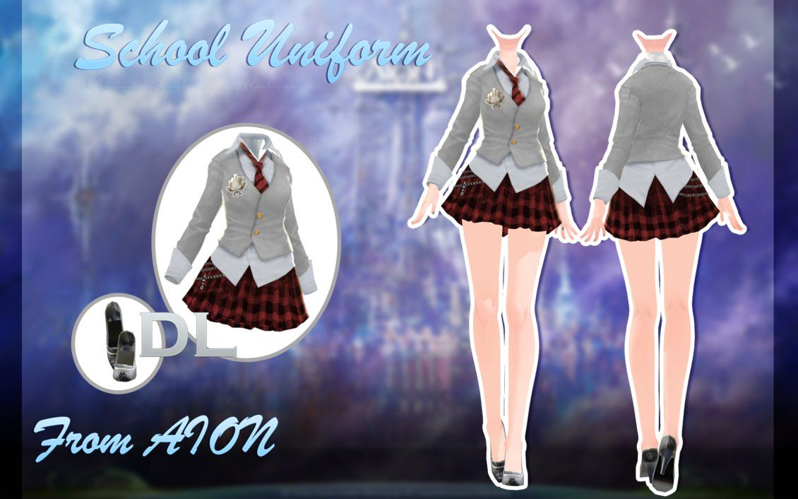 MMD AION - School Uniform - [DOWNLOAD][DL] by Milionna | MMD