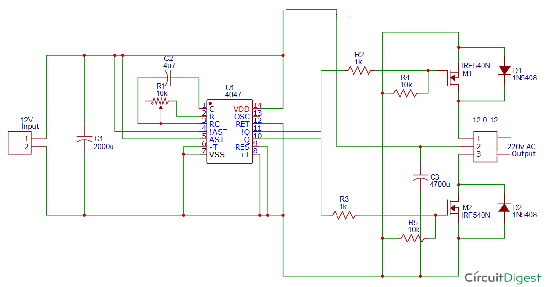 100 Watt 12v Dc To 220v Ac Inverter Circuit Diagram With Images