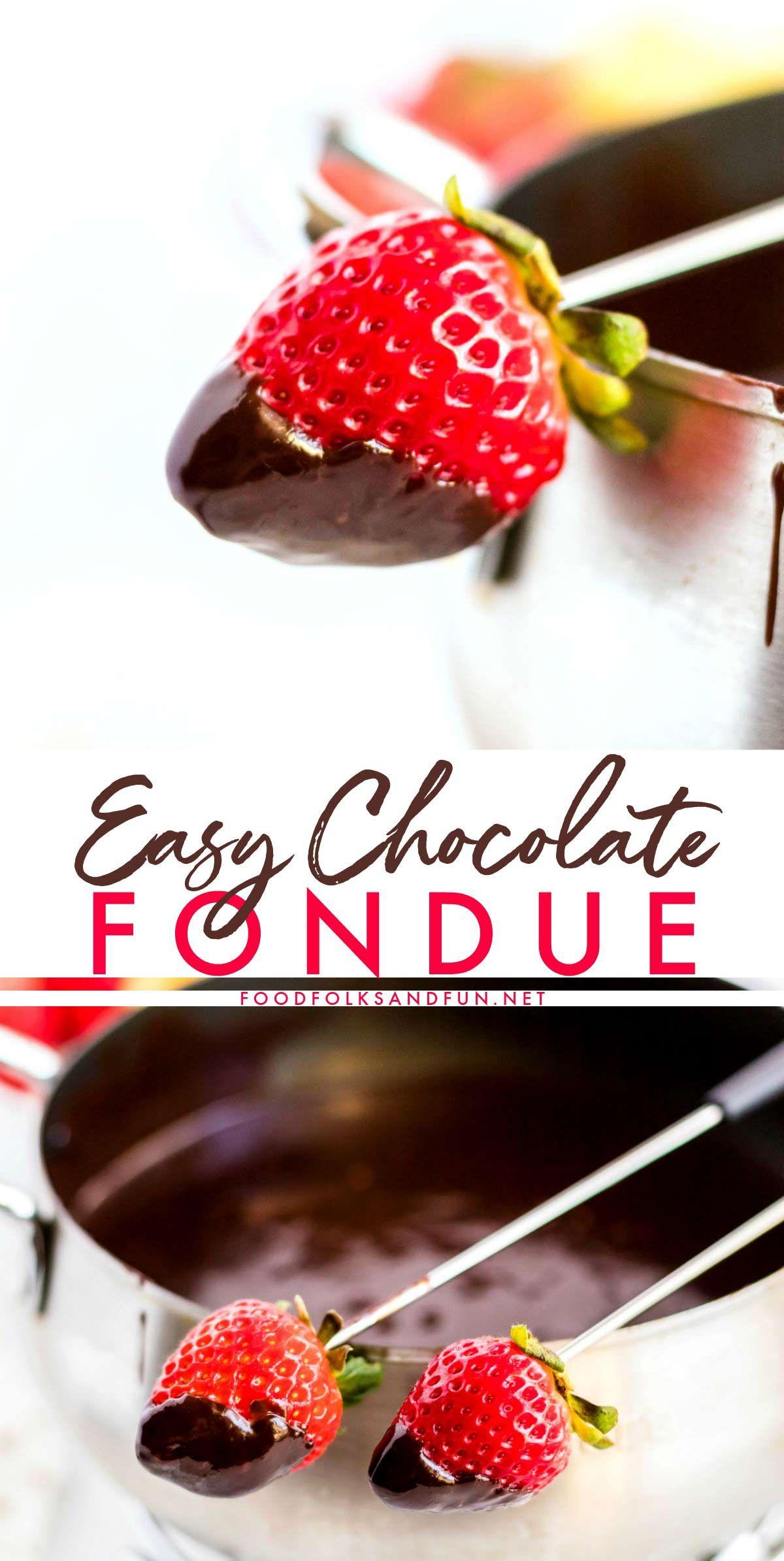 Easy Chocolate Fondue #chocolatefonduerecipes
