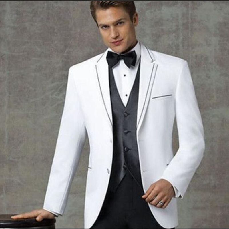 2016-Two-Buttons-Black-White-Groom-Tuxedos-Notch-Lapel-Best-Man ...